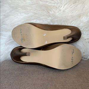 Kelsi Dagger Shoes - Kelsie Dagger Bronze Leather Platform Heels